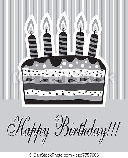 birthday cake with candles - csp7757606
