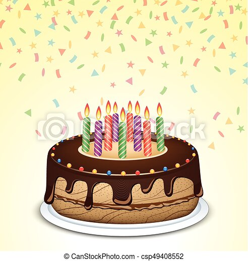 birthday cake with candles - csp49408552