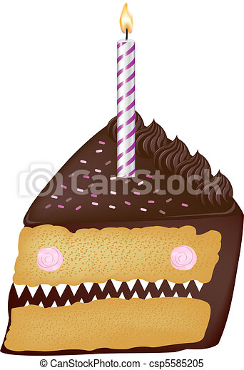 Birthday Cake With Candles - csp5585205