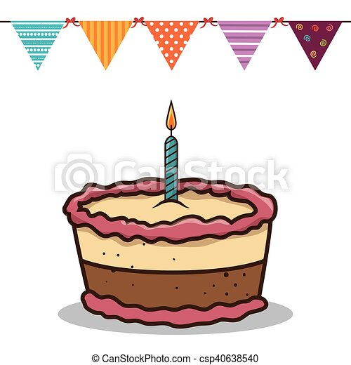 birthday cake with candles - csp40638540