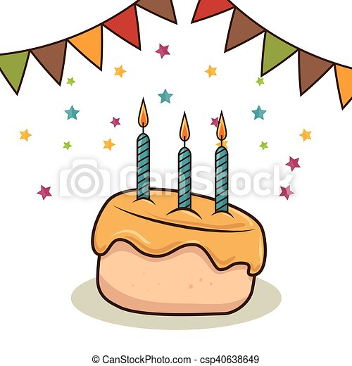 birthday cake with candles - csp40638649