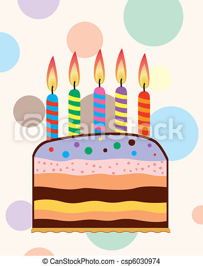 birthday cake with candles - csp6030974