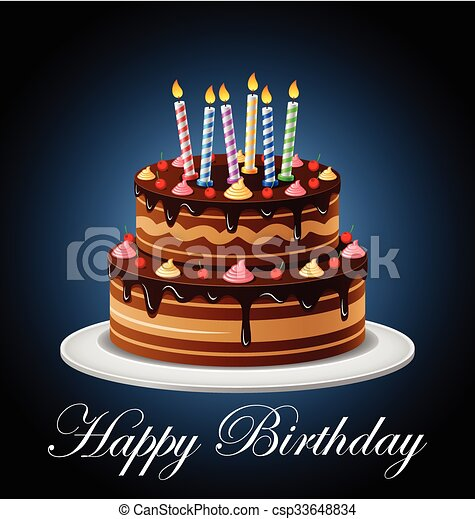 Birthday Cake with candles - csp33648834