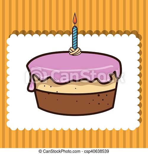 birthday cake with candles - csp40638539