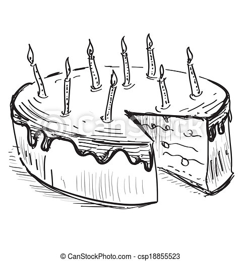 Birthday cake with candles - csp18855523
