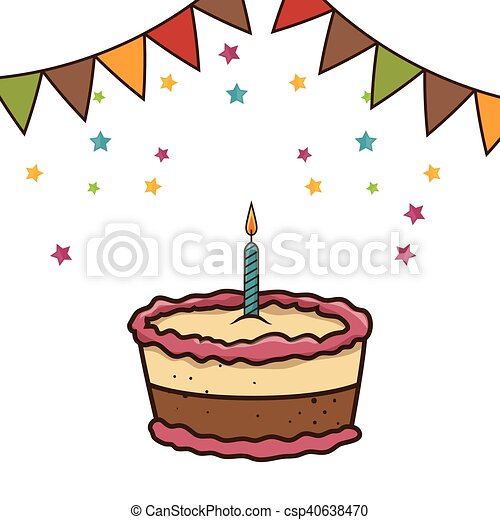 birthday cake with candles - csp40638470