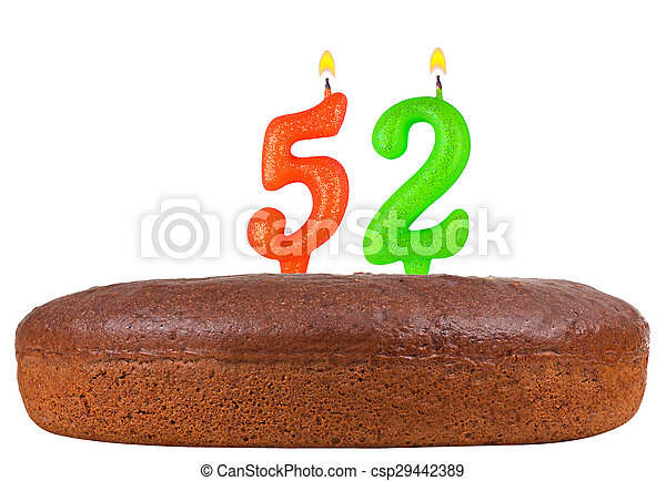 birthday cake with candles number 52 isolated - csp29442389