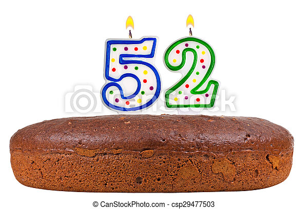 Birthday Cake With Candles Number Fifty Two Isolated On White