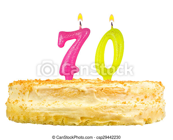 birthday cake with candles number seventy - csp29442230