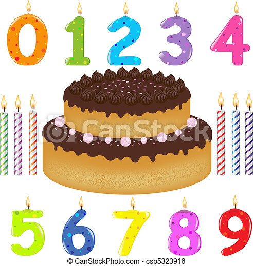 Birthday Cake With Candles Of Different Form - csp5323918
