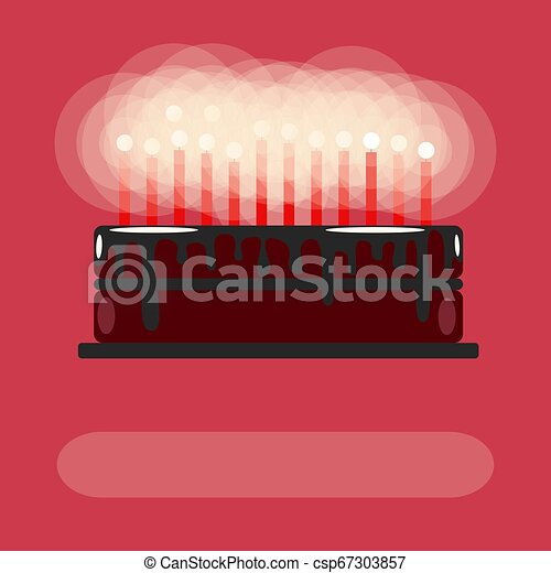 Birthday cake with candles. On a pink background. Flat - csp67303857