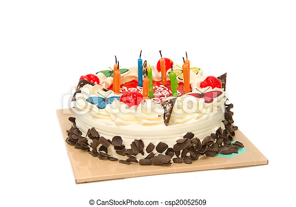 Birthday cake with candles on a plate - csp20052509