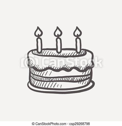 Birthday cake with candles sketch icon for web and mobile eps