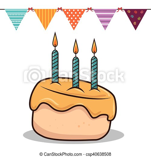 birthday cake with candles - csp40638508