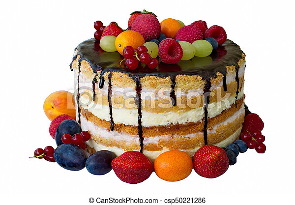 Birthday Cake With Chocolate And Fruits Isolated Over White