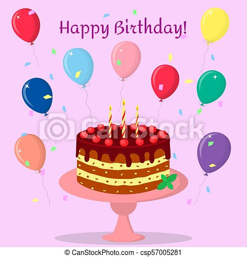 Birthday cake with chocolate cream, cherries and candles on a pink plate. Against the background of balloons and confetti. - csp57005281