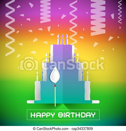 Birthday Cake with Confetti Vector Illustration on Colorful Gradient Background - csp34337809