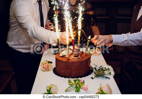 Fantastic Birthday Cake With Fireworks On Table In Black Background Personalised Birthday Cards Paralily Jamesorg