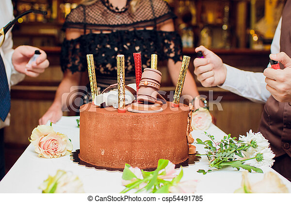 Excellent Birthday Cake With Fireworks On Table In Black Background Funny Birthday Cards Online Bapapcheapnameinfo