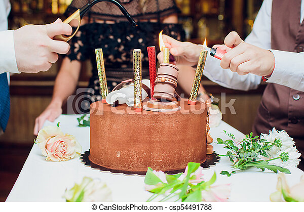 Fantastic Birthday Cake With Fireworks On Table In Black Background Funny Birthday Cards Online Alyptdamsfinfo