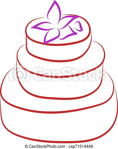 Birthday cake with flower drawing, illustration, vector on white background. - csp71514449