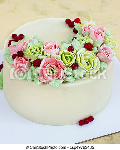 Groovy Birthday Cake With Flowers Rose On Light Background Personalised Birthday Cards Cominlily Jamesorg