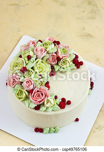 Pleasing Birthday Cake With Flowers Rose On Light Background Funny Birthday Cards Online Elaedamsfinfo