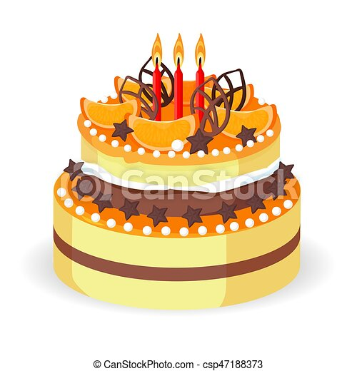 Birthday Double Decker Cake With Orange Slices Chocolate Sticks And Stars Caramel Balls Three Burning Candles Realistic Vector Illustration
