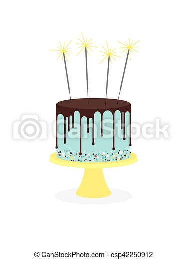 Birthday cake with frosting and sparklers - csp42250912