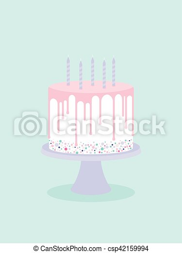 Birthday cake with glaze and candles - csp42159994