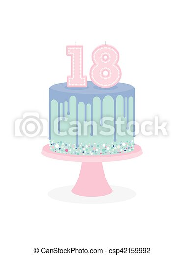 Birthday cake with glaze and number 18 candles - csp42159992