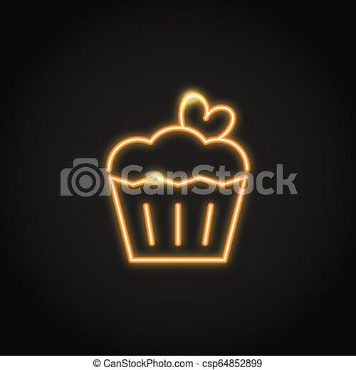 Astounding Birthday Cake With Heart Glowing Neon Icon Birthday Cake With Funny Birthday Cards Online Necthendildamsfinfo