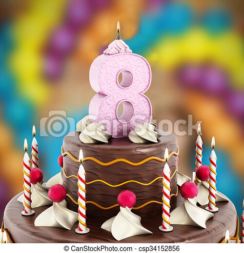 Birthday Cake With Number 8 Lit Candle