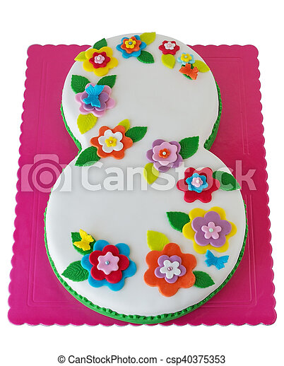 Birthday Cake With Number 8 Multi Colored Flowers