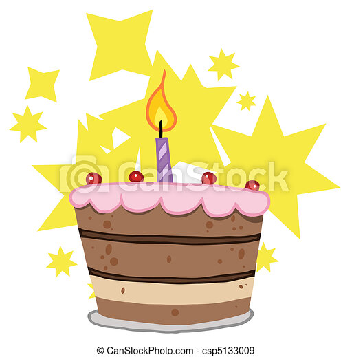 Birthday Cake With One Candle - csp5133009