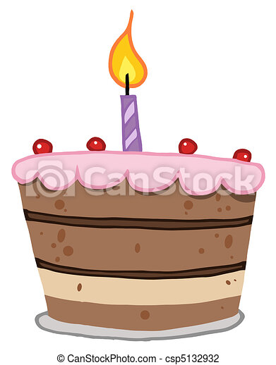 Birthday Cake With One Candle Lit - csp5132932