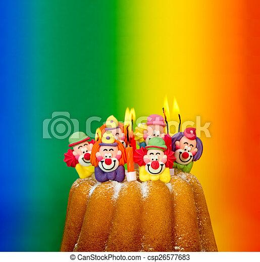 Surprising Birthday Cake With Sugar Clown Decoration And Candles Funny Birthday Cards Online Inifodamsfinfo