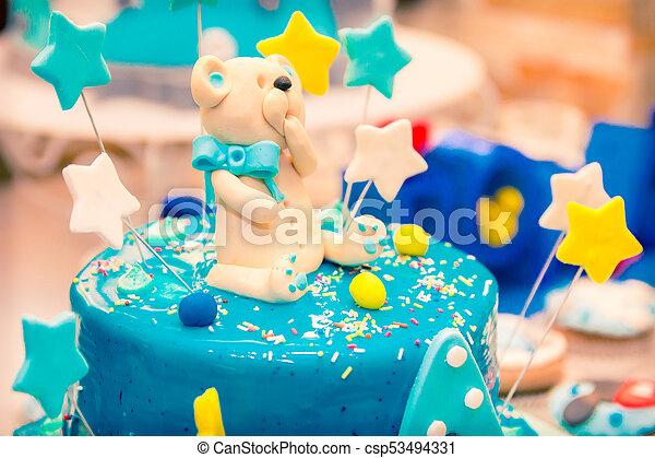 Surprising Birthday Cake With Teddy Bear Childrens Blue Birthday Cake With Funny Birthday Cards Online Barepcheapnameinfo