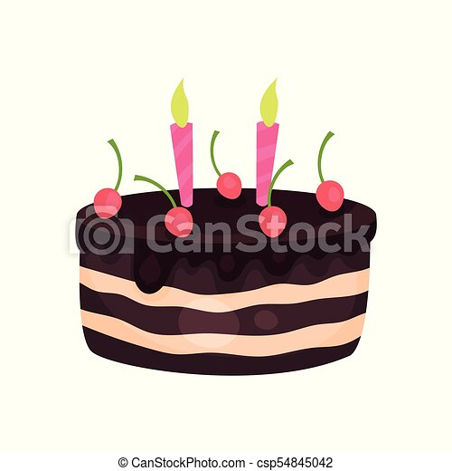 Birthday cake with three burning candles and red cherries. Tasty chocolate dessert. Cartoon flat vector design for greeting card or invitation - csp54845042