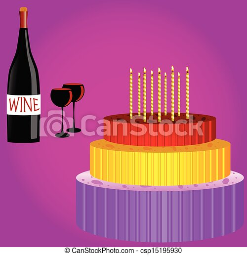 Birthday Cake With Wine Cartoon Vector Illustration