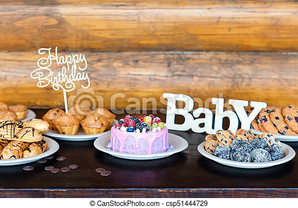 Prime Birthday Cakes And Muffins With Wooden Greeting Signs On Rustic Birthday Cards Printable Riciscafe Filternl