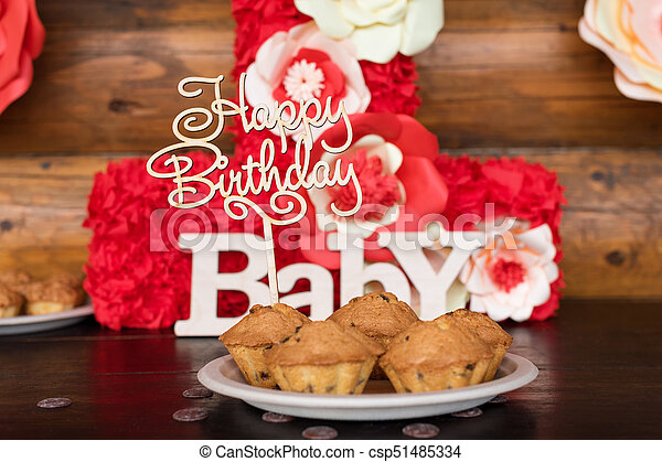 Birthday Cakes Muffins With Wooden Greeting Signs On Rustic Background Sing Letters