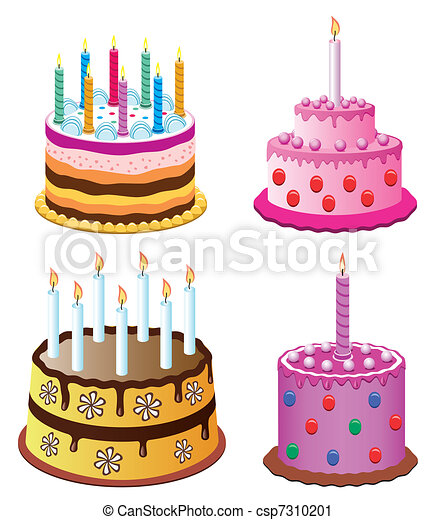 Vector Clip Art of birthday cakes vector birthday cakes with