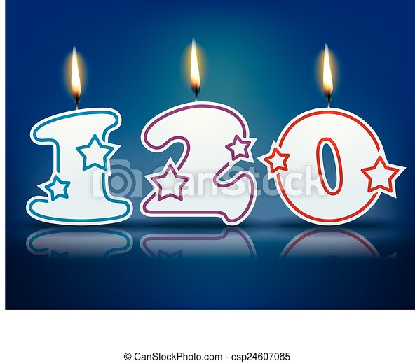 Birthday candle number 120 - csp24607085