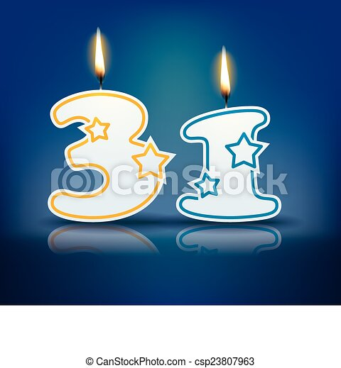 Birthday Candle Number 31 Birthday Candle Number With