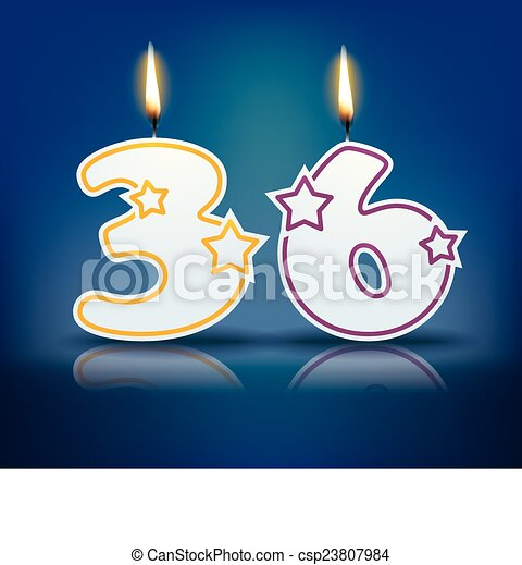 Birthday Candle Number 36 Birthday Candle Number With