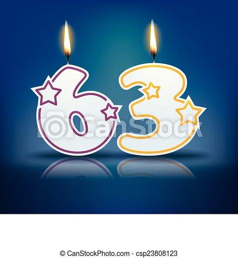 birthday candle number 63 birthday candle number with flame eps
