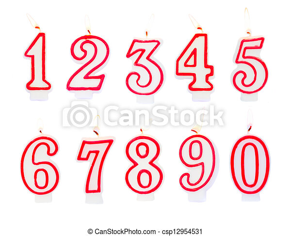 Birthday Candles Burning Numbers Isolated On White