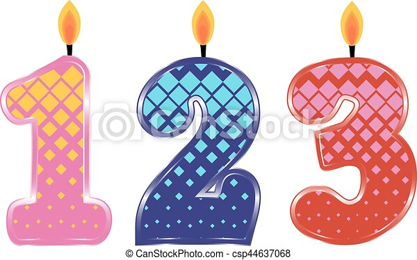 Set Of Colorful Birthday Candles Isolated On White Background Numbers One Two Three Vector Illustration Design For Children Party Baby Shower Wedding