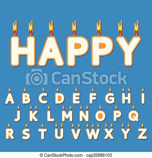 Birthday Candles Letters Candle Vector Flat Illustration